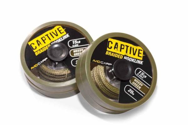 Avid Carp Captive Braided Hooklink - 15lb Weedy Green