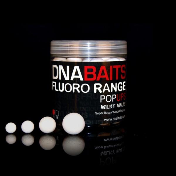 DNA Baits Fluoro Pop Up Milky Malts 18mm