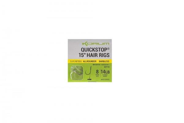 Korum BF Quickstop Hair Rigs 15in Gr.8 Barbless