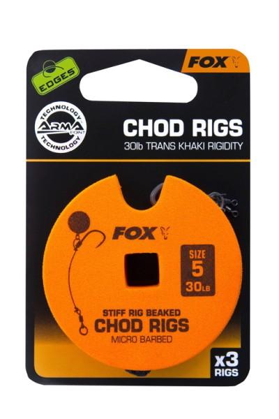 Fox Edge Armapoint Stiff Rig Beaked Chod Rigs 30lb Size 5 Standard