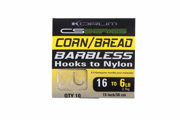 Korum Barbless Hooks To Nylon - Sweetcorn-Bread