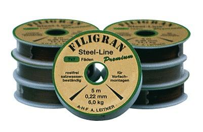AHF Leitner Filigran Premium Stahlvorfach 0,22mm 6kg 5m