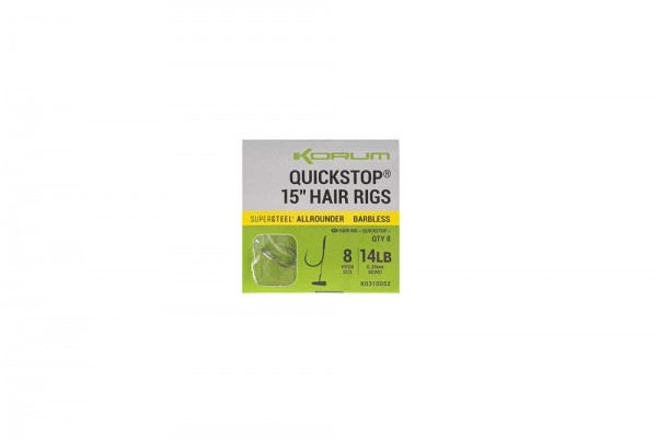 Korum BF Quickstop Hair Rigs 15in Gr.14 Barbless