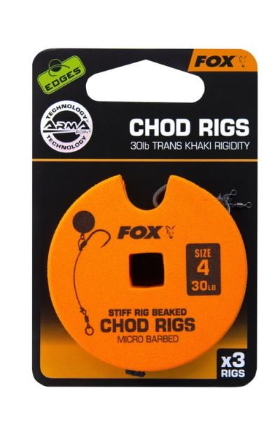 Fox Edge Armapoint Stiff Rig Beaked Chod Rigs 30lb Size 4 Standard