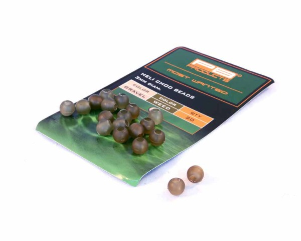 PB Products Heli-Chod Beads Gravel/Weed 20pcs