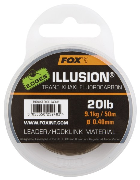 Fox Edges Illusion Flurocarbon Leader 0.40mm / 20lb / 9.09kg - Trans Khaki