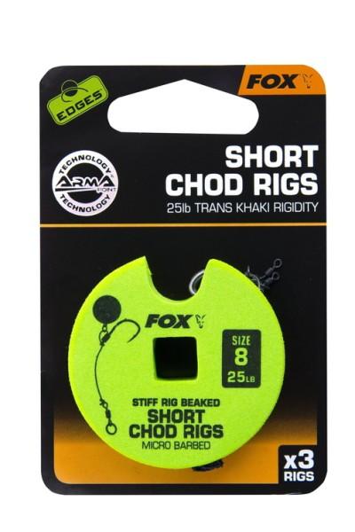 Fox Edge Armapoint Stiff Rig Beaked Chod Rigs 25lb Size 8 Short