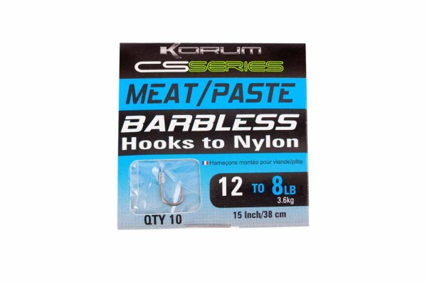 Korum Barbless Hooks To Nylon - Meat-Paste